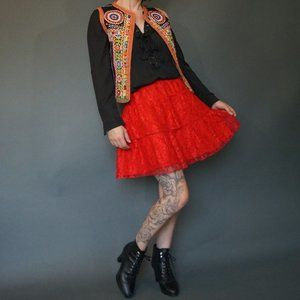 Vintage Red Lace Cactus Moon Skirt